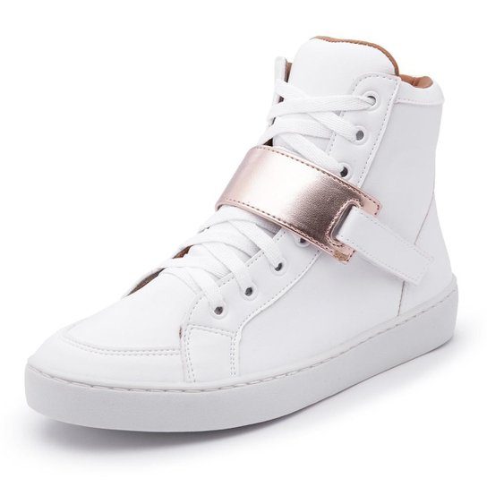 61aa0bee562 Tênis Cano Alto Top Franca Shoes Feminino - Branco e dourado ...