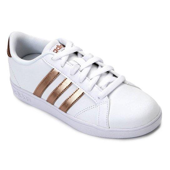 27e72748a32 Tênis Infantil Couro Adidas Baseline - Branco e dourado - Compre ...