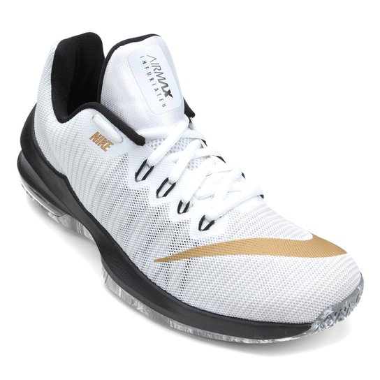 4dd5ef55ee9 Tênis Nike Air Max Infuriate 2 Low Masculino - Branco e dourado ...