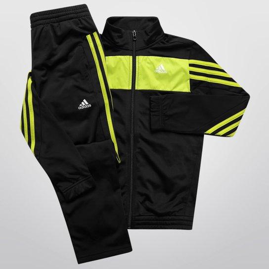 Agasalho Adidas YB TS TRN KN OH Infantil - Preto+Verde Limão 8d0702c1c3d5a