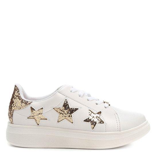 d4bfc5807 Tênis Molekinha Estrelas Infantil - Branco+dourado