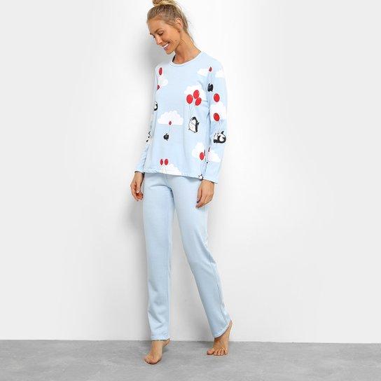 eacd1dfaf Pijama Longo SonnoVicci Pinguim Feminino - Azul Claro e Branco