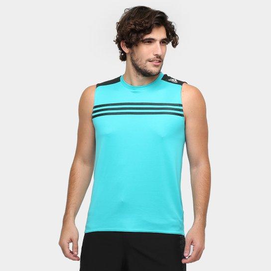 313a0ea917512 Camiseta Regata Adidas Response - Azul Turquesa+Preto