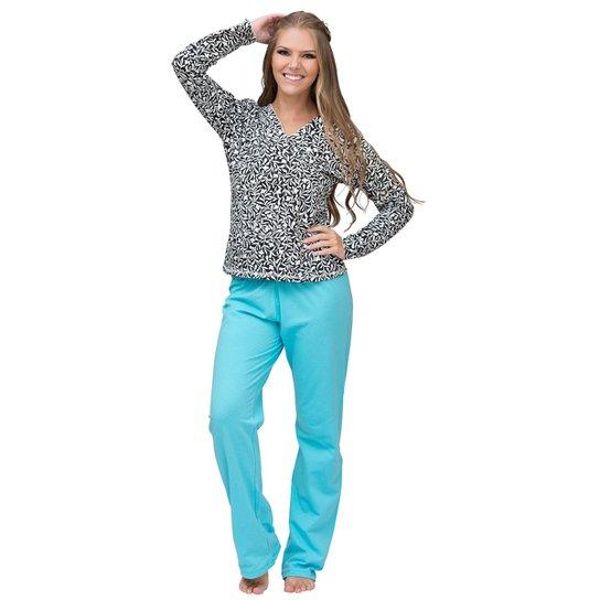 d64c7bc0e Pijama Longo Inspirate Arabesco Feminino - Azul Claro+Preto