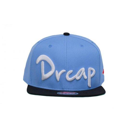 6fe6d2f686f28 Boné Snapback 3D Drcap - Azul Claro+Preto