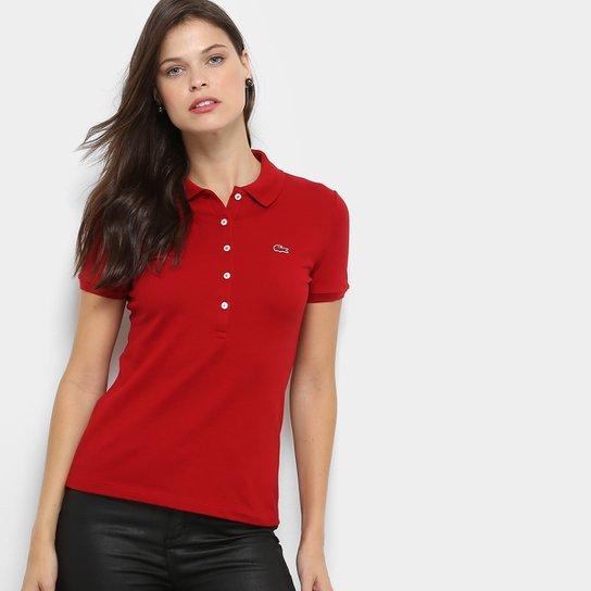 63af8a5812c1d Camisa Polo Lacoste Manga Curta Botões Feminina - Compre Agora