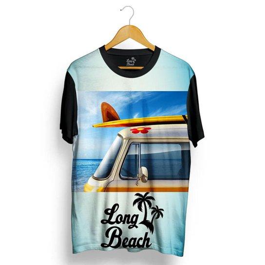 278863392d96a Camiseta Long Beach Kombi Sublimada Masculina - Azul Claro e Preto ...