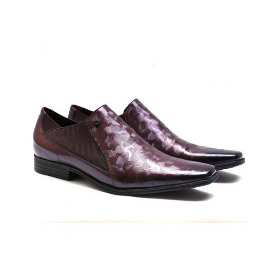 9d3897ff4a Sapato Social Couro Calvest Verniz Masculino - Vinho - Compre Agora ...