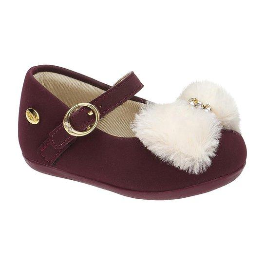 6fd95b83fc Sapatilha Infantil Klin Cravinho Princess Fur - Vinho - Compre Agora ...