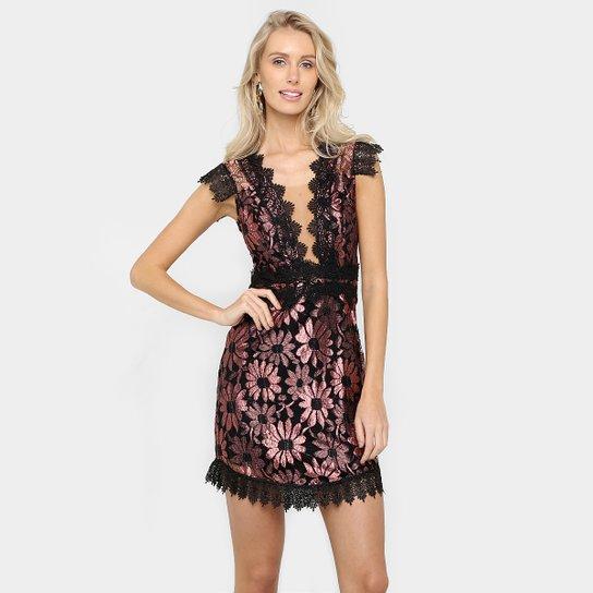 a7f284ab3 Vestido Colcci Floral Renda - Preto+Rosa