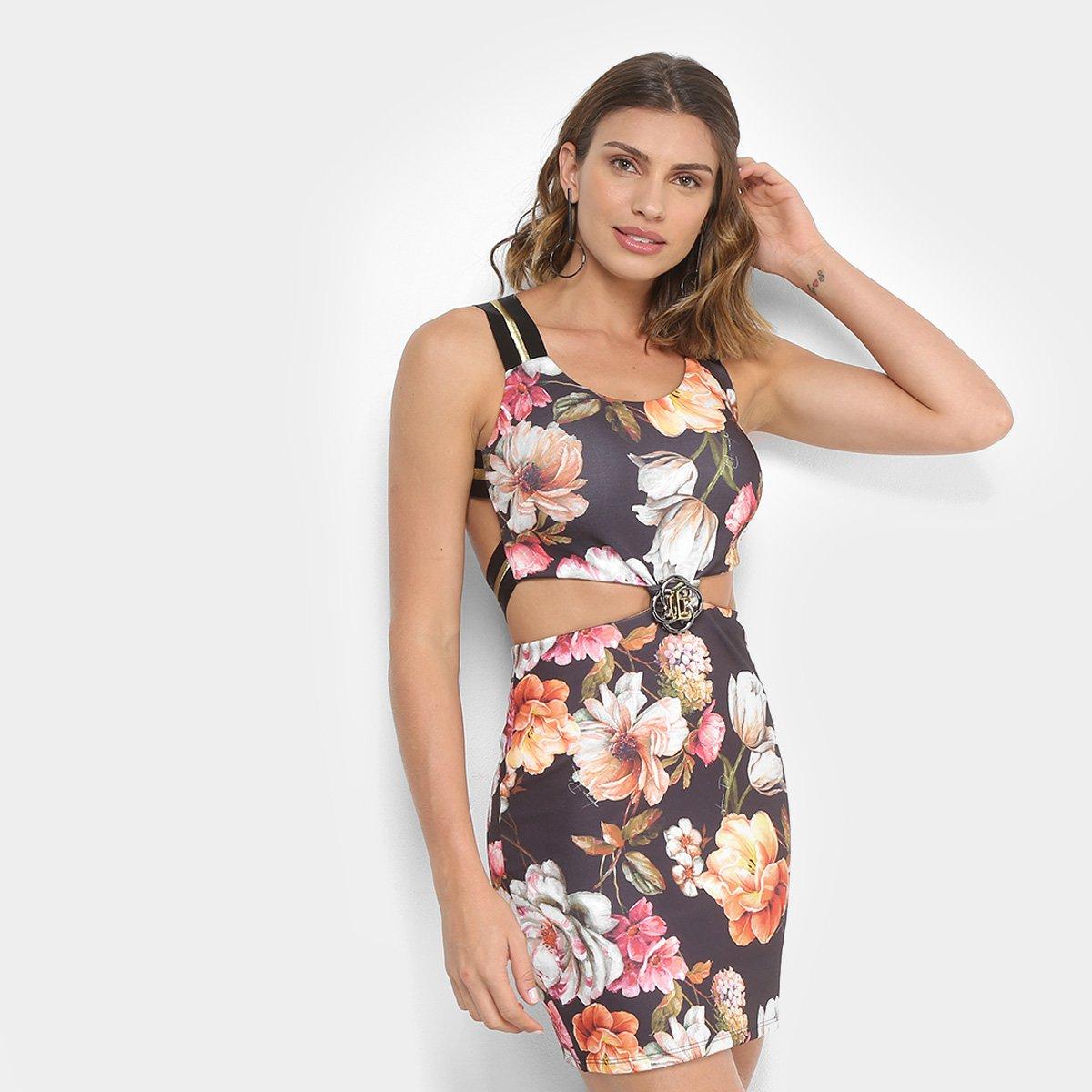 b14647a47 Vestido Estampado Floral Lança Perfume Recorte Vazado Feminino