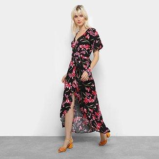 f7d41e84d Vestido Longo Top Moda Floral Babado Feminino