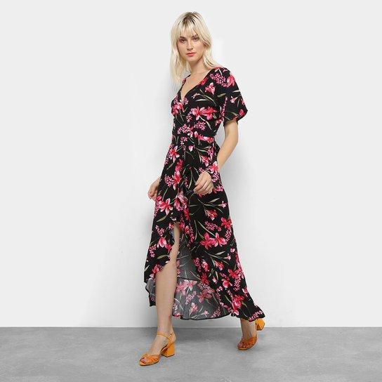 42b08a7853 Vestido Longo Top Moda Floral Babado Feminino - Preto e Rosa ...
