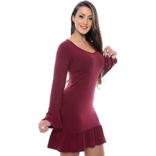 82311a1347 Vestido B Bonnie Manga Longa Evazê Camila - Vinho - Compre Agora ...
