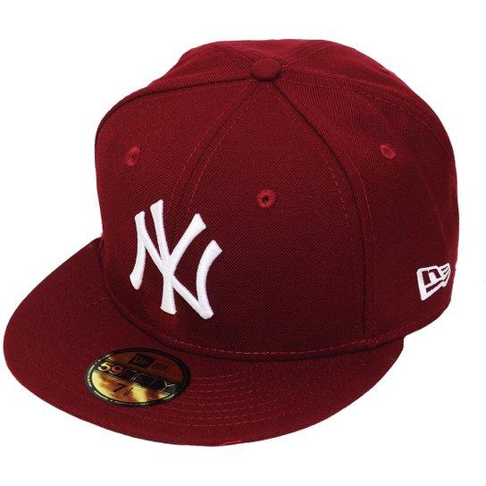 Boné New Era Aba Reta Fechado Mlb Ny Yankees Basic - Vinho - Compre ... 2b722aca915