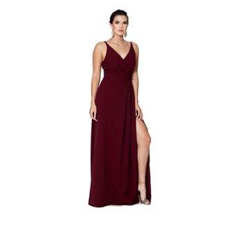 6f7c6718a Vestido Longo IzaD em Crepe com Fenda Feminino