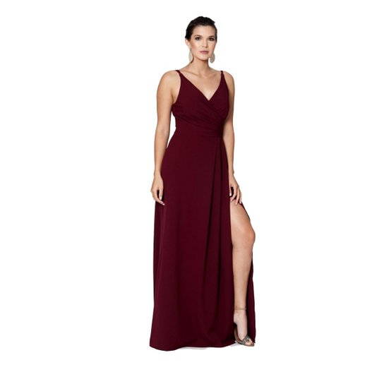 d01343bd455 Vestido Longo IzaD em Crepe com Fenda Feminino   Zattini