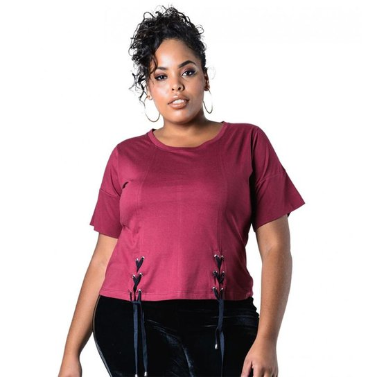 1c22028192 Blusa Plus Size com Amarração Lenner Plus - Vinho