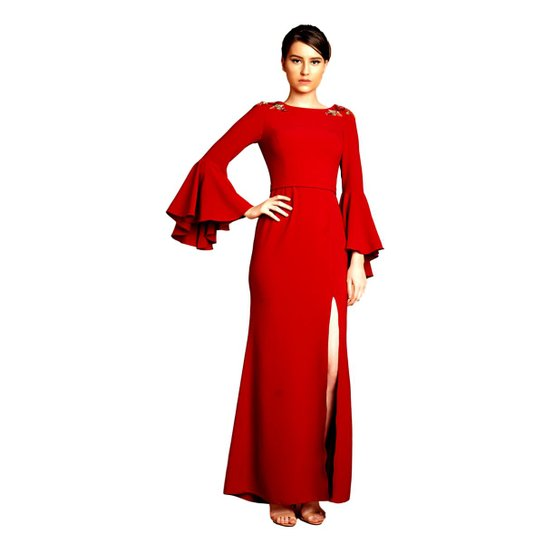 d441397d7f8 Vestido Longo Izadora Lima Brand em Crepe Mangas Longas Boca de Sino  Feminino - Vinho