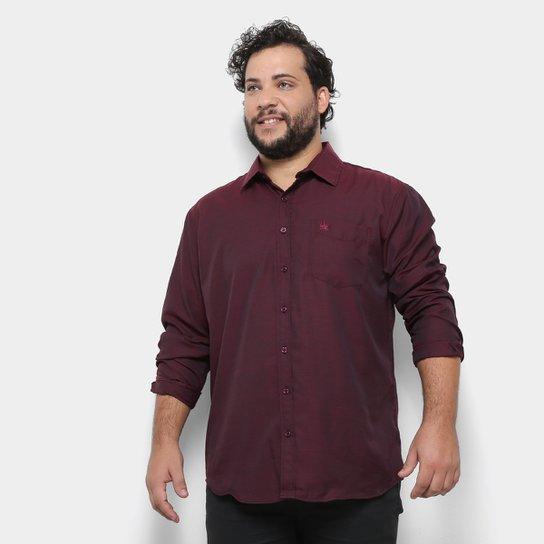 4bb856e9e7 Camisa Social Delkor Plus Size Masculina - Vinho | Zattini