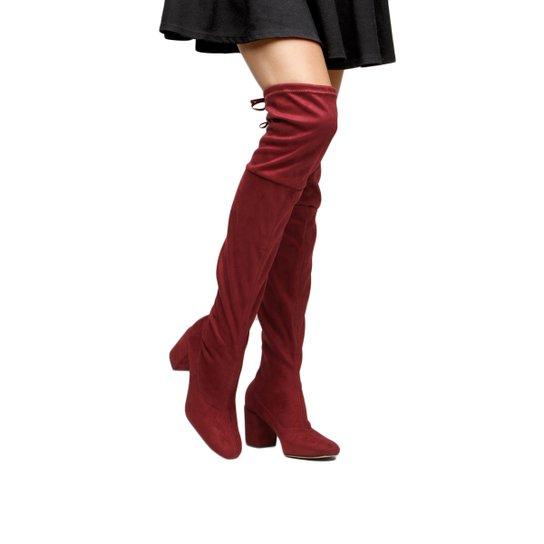 b40246a0e Bota Meia Over The Knee Shoestock Salto Grosso Feminina - Vinho ...