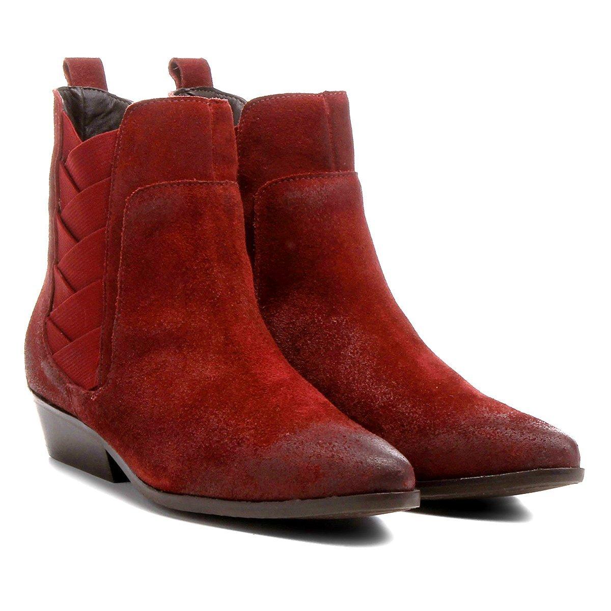 e7dfd8967 35%OFF Bota Couro Chelsea Shoestock Bico Fino Elásticos Transpassados  Femini.