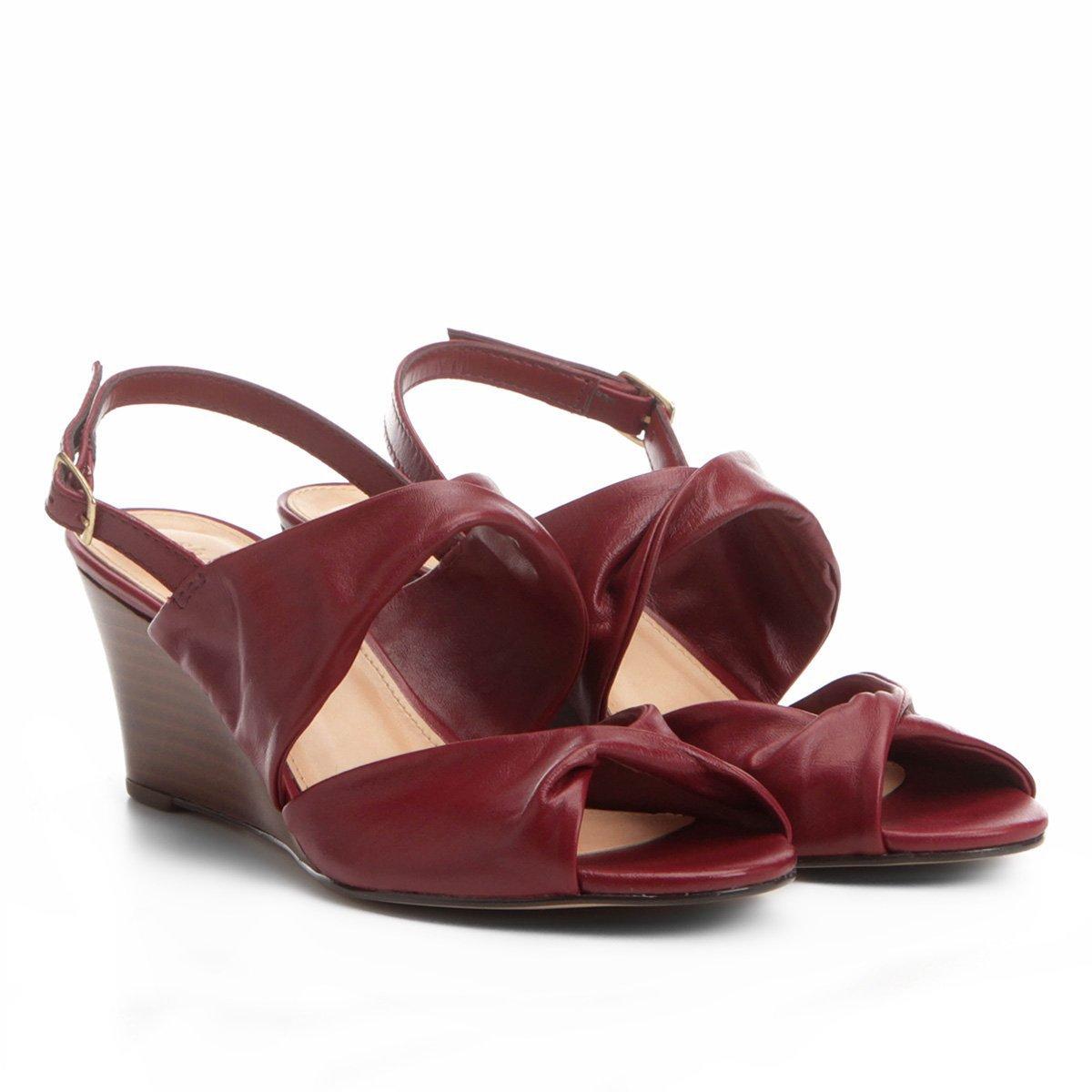 6de7bf024f Sandália Anabela Couro Shoestock Drapeado Feminina