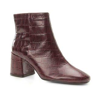 7a6cf8d9f Bota Couro Cano Curto Shoestock Croco Feminina