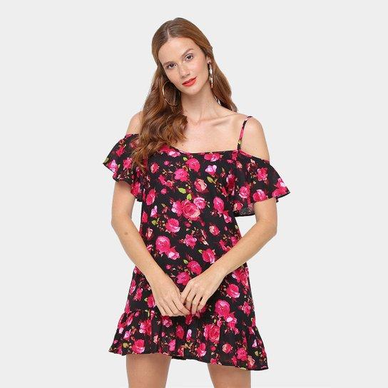 84c70f93a Vestido Slinks Curto Estampado Recorte no Ombro e Babados - Compre ...