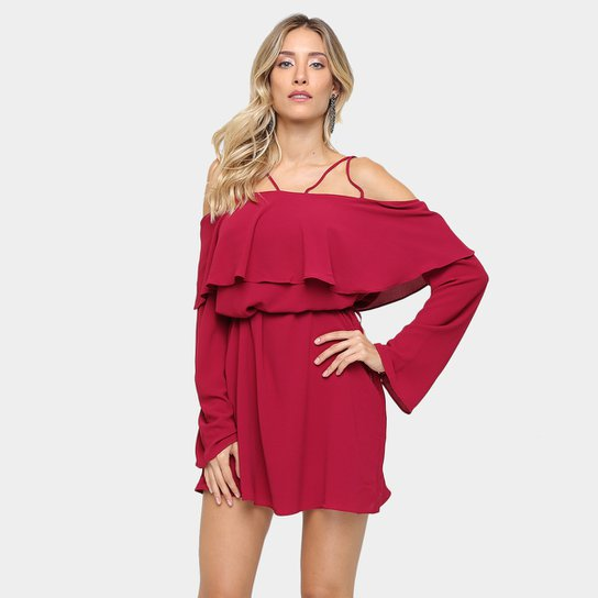 5041e7e9c Vestido Morena Rosa Amplo Babado   Zattini