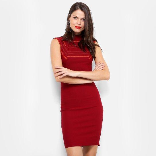 a7825cca8 Vestido Morena Rosa Tubinho Midi Recortes - Vinho | Zattini