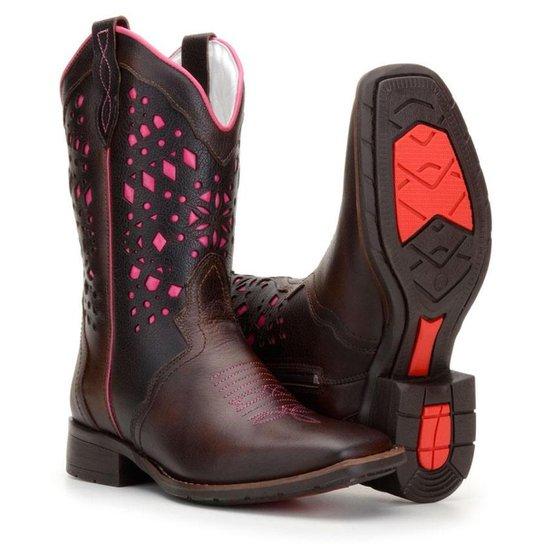 0d8c3e7ef8 Bota Country Capelli Texana Rodeio Couro Feminino - Marrom e Rosa ...