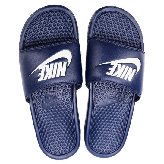 932083f79 Sandália Nike Benassi JDI Masculina - Marinho e Branco - Compre ...