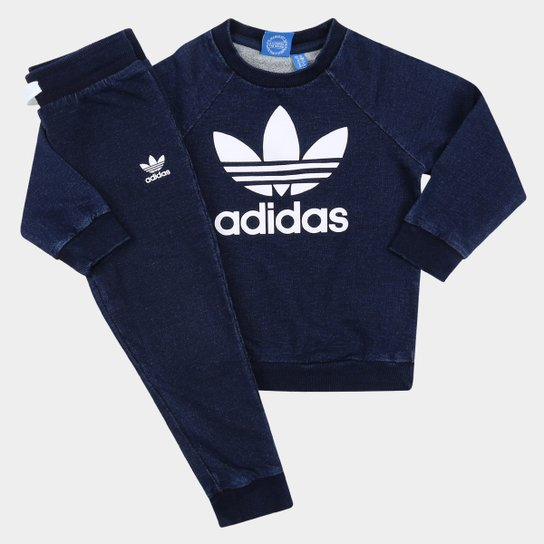 a2f95754f5170 Conjunto Adidas I Denim Infantil - Marinho+Branco
