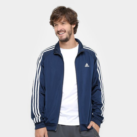 9720b27aae3 Jaqueta Adidas Essential 3S Top Masculina - Marinho e Branco ...