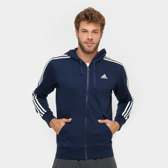 296f85fddfa5e Moletom Adidas Essentials 3S French Terry C  Capuz - Marinho+Branco