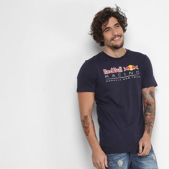 Camiseta Puma Logo Red Bull Racing Masculina - Marinho e Branco ... 625279d1b29