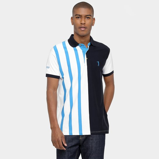Camisa Polo Aleatory Malha Listra Horizontal - Marinho+Branco 0cba3333fd859