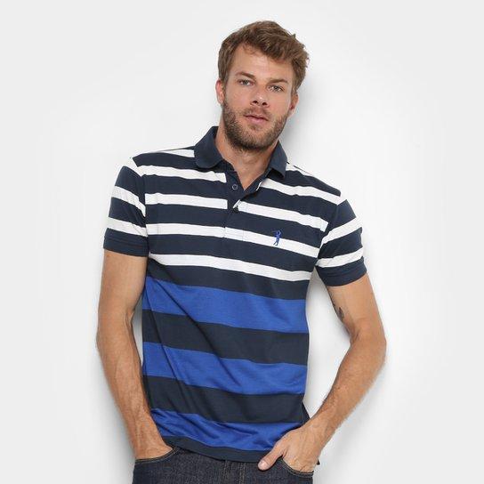 Camisa Polo Aleatory Listrada Masculina - Marinho+Branco fc06fb399cb30