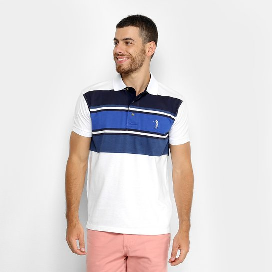 Camisa Polo Aleatory Listrada Masculina - Marinho e Branco - Compre ... 0ff77ab13fc40