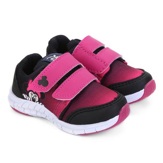 5b6f881c622 Tênis Infantil Disney com Velcro Minnie Feminino - Preto e Pink ...