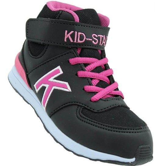 ca7874e7c9f Tênis Infantil Kid Star Cano Alto Feminino - Preto e Pink - Compre ...