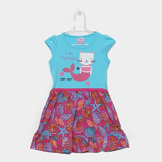 74bb7f3400 Vestido Infantil For Girl Curto Evasê Estampa Conchas