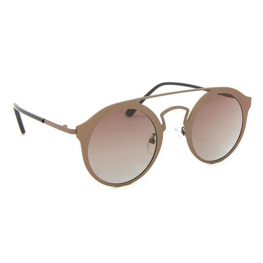Óculos de Sol Estilo Top Bar Redondo - Marrom - Compre Agora   Zattini e0bcb23019