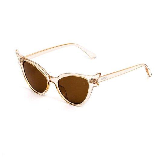 Óculos de Sol Gatinha Transparente - Marrom - Compre Agora   Zattini 70166423eb