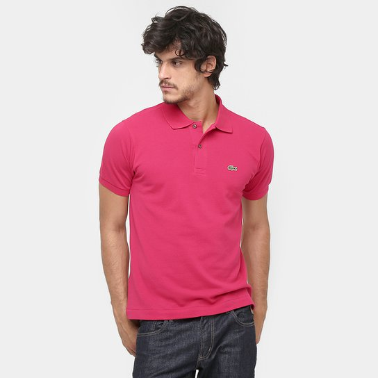 8997f53aee4cd Camisa Polo Lacoste Original Fit Masculina - Pink e Verde - Compre ...