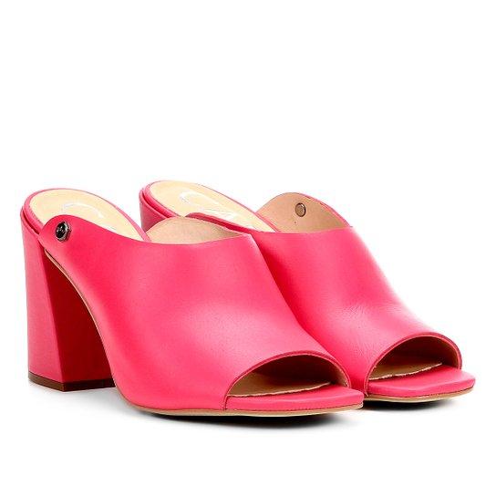ec25cd5d3a6ec Tamanco Couro Carmim Salto Grosso Feminino - Pink - Compre Agora ...