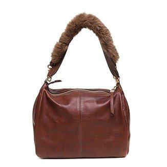 96d45a902 Bolsa Couro Luz da Lua Handbag Pelinho Feminina