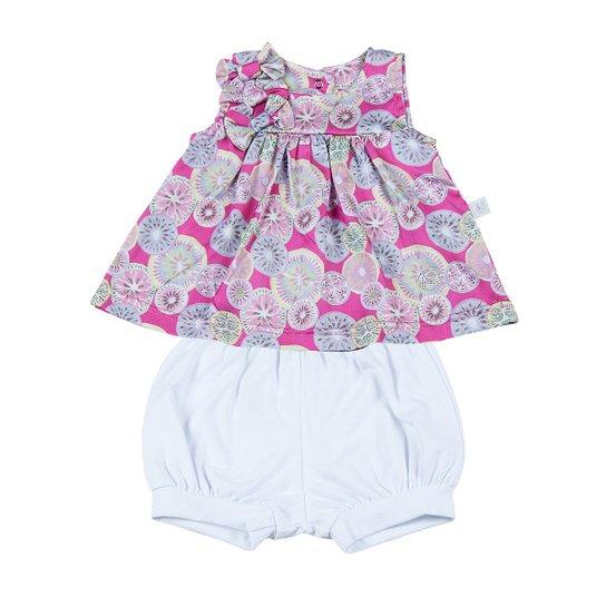 7c46f84b60 Conjunto Bebê Vestido Cetim Algodão Estampado Fr - Pink - Compre ...