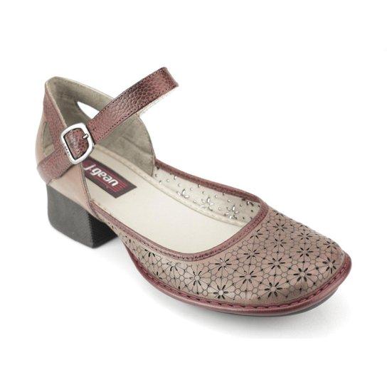 e6fd80350 Sapato J.Gean New Kelly Salto Couro - Marrom | Zattini